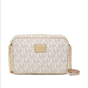 White and gold logo Michael Kors cross body